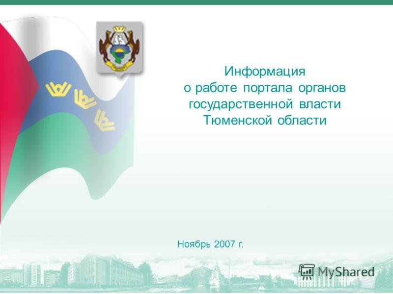 Информация о работе портала органов государственной власти Тюменской области Ноябрь 2007 г.