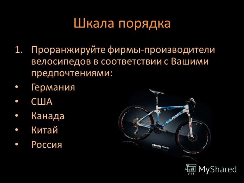 Шкала порядка 1.Проранжируйте фирмы-производители велосипедов в соответствии с Вашими предпочтениями: Германия США Канада Китай Россия