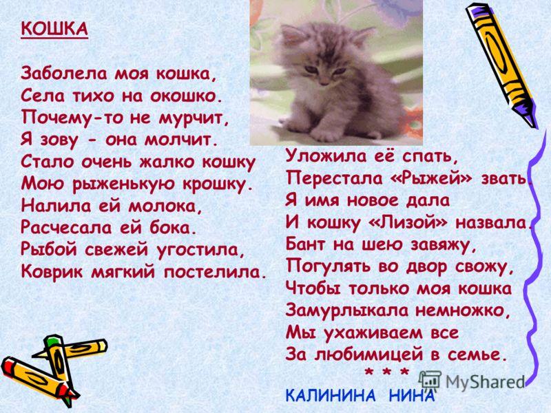 КОШКА Заболела моя кошка, Села тихо на окошко. Почему-то не мурчит, Я зову - она молчит. Стало очень жалко кошку Мою рыженькую крошку. Налила ей молока, Расчесала ей бока. Рыбой свежей угостила, Коврик мягкий постелила. Уложила её спать, Перестала «Р