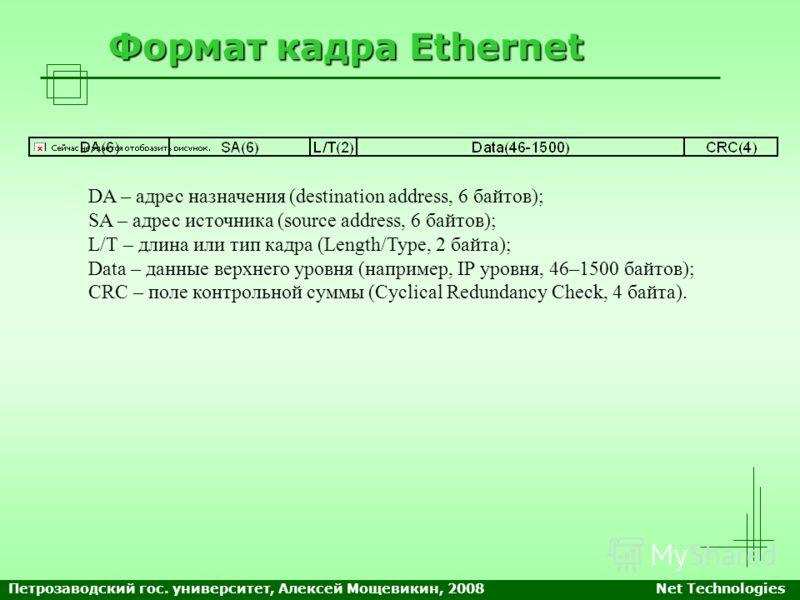 Формат кадра Ethernet DA – адрес назначения (destination address, 6 байтов); SA – адрес источника (source address, 6 байтов); L/T – длина или тип кадра (Length/Type, 2 байта); Data – данные верхнего уровня (например, IP уровня, 46–1500 байтов); CRC –