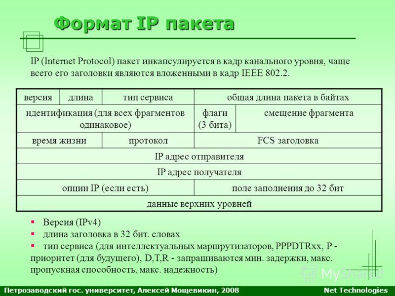 Формат IP пакета IP (Internet Protocol) пакет инкапсулируется в кадр канального уровня, чаще всего его заголовки являются вложенными в кадр IEEE 802.2. версиядлинатип сервисаобщая длина пакета в байтах идентификация (для всех фрагментов одинаковое) ф
