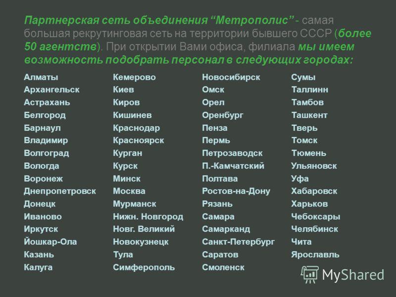 Партнерская сеть объединения Метрополис - самая большая рекрутинговая сеть на территории бывшего СССР (более 50 агентств). При открытии Вами офиса, филиала мы имеем возможность подобрать персонал в следующих городах: Алматы Архангельск Астрахань Белг
