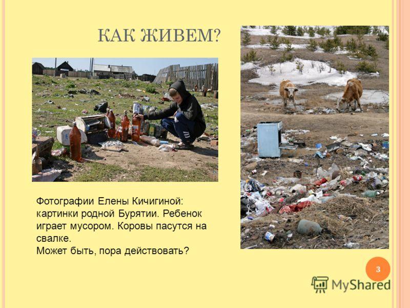 КАК ЖИВЕМ? 3 Фотографии Елены Кичигиной: картинки родной Бурятии. Ребенок играет мусором. Коровы пасутся на свалке. Может быть, пора действовать?