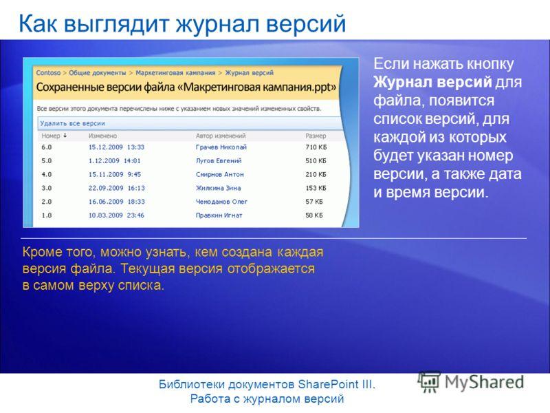 Как выглядит журнал версий Если нажать кнопку Журнал версий для файла, появится список версий, для каждой из которых будет указан номер версии, а также дата и время версии. Кроме того, можно узнать, кем создана каждая версия файла. Текущая версия ото