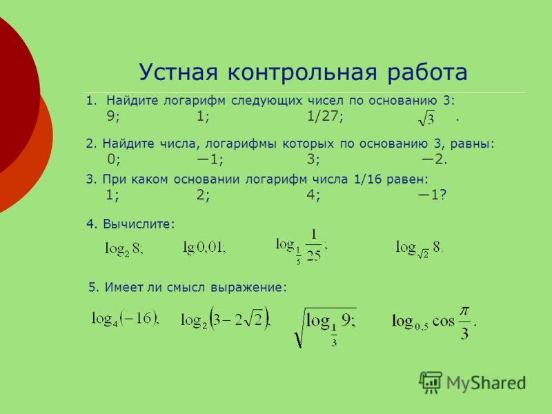 Устная контрольная работа 1.Найдите логарифм следующих чисел по основанию 3: 9 ; 1 ; 1/27 ;. 2. Найдите числа, логарифмы которых по основанию 3, равны: 0 ; 1 ; 3 ; 2. 3. При каком основании логарифм числа 1/16 равен: 1;2;4; 1? 4. Вычислите: 5. Имеет