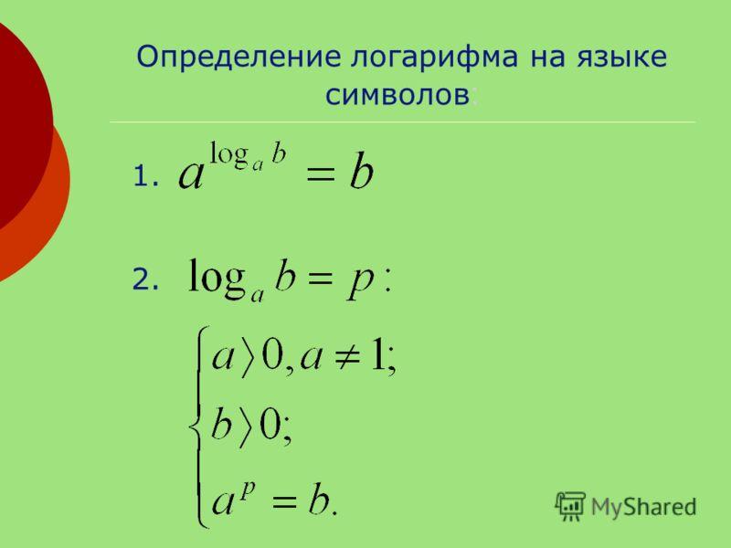 Определение логарифма на языке символов : 1. 2.