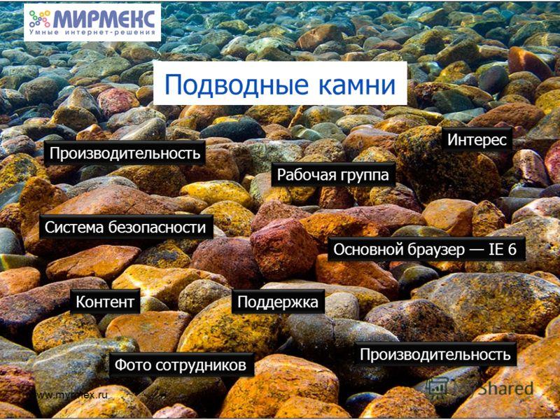 www.myrmex.ru Подводные камни Интерес Производительность Система безопасности Производительность Поддержка Контент Рабочая группа Фото сотрудников Основной браузер IE 6