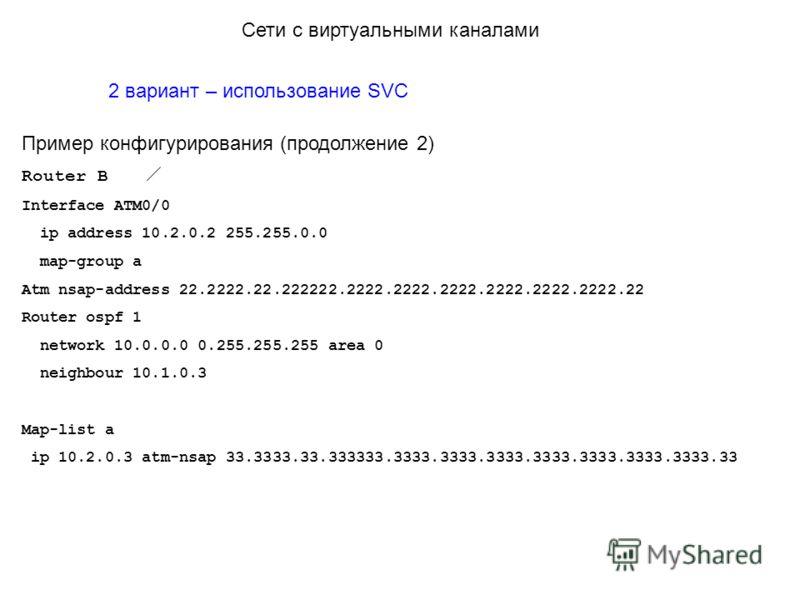 2 вариант – использование SVC Пример конфигурирования (продолжение 2) Router B Interface ATM0/0 ip address 10.2.0.2 255.255.0.0 map-group a Atm nsap-address 22.2222.22.222222.2222.2222.2222.2222.2222.2222.22 Router ospf 1 network 10.0.0.0 0.255.255.2