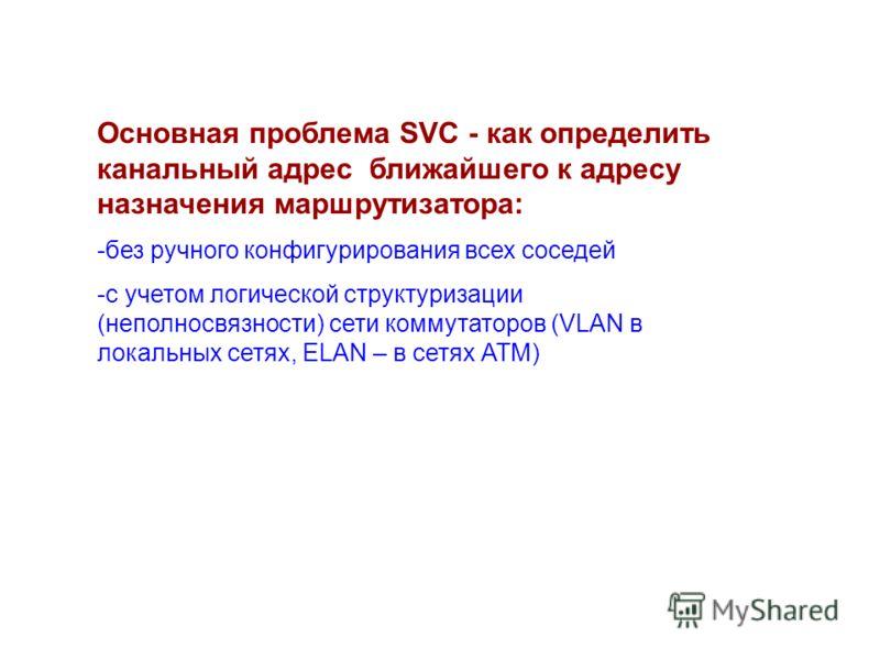 Основная проблема SVC - как определить канальный адрес ближайшего к адресу назначения маршрутизатора: -без ручного конфигурирования всех соседей -с учетом логической структуризации (неполносвязности) сети коммутаторов (VLAN в локальных сетях, ELAN –