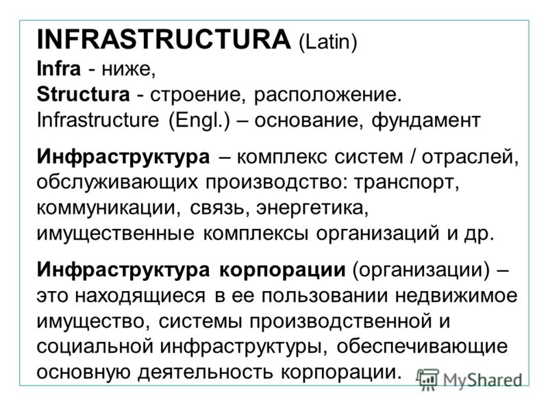 INFRASTRUCTURA (Latin) Infra - ниже, Structura - строение, расположение. Infrastructure (Engl.) – основание, фундамент Инфраструктура – комплекс систем / отраслей, обслуживающих производство: транспорт, коммуникации, связь, энергетика, имущественные