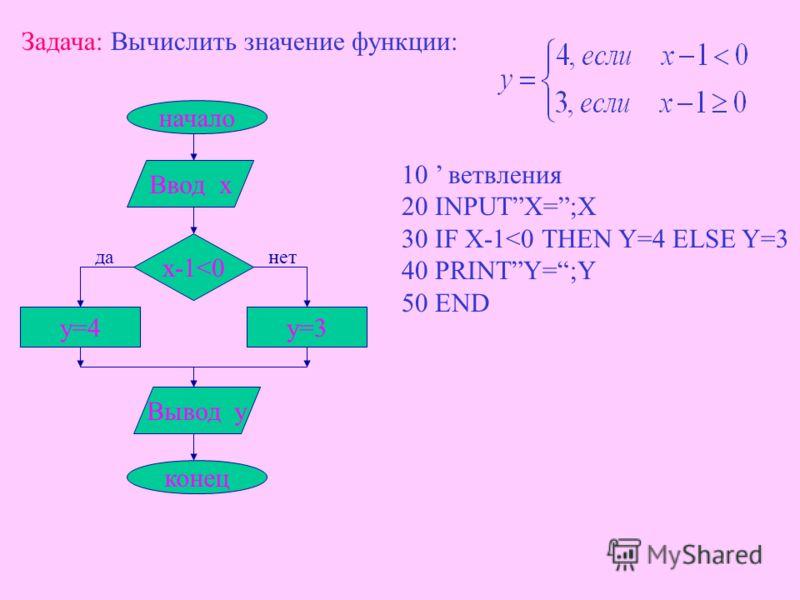 В языке Бейсик: ON K GOTO N 1, N 2, N 3, где N 1, N 2, N 3 – номера строк 3) Выбор К Действие 1 k=1 Действие 2Действие iДействие n k=2k=ik=n В зависимости от значения переменной К – ЭВМ переходит к заданному номеру строки.