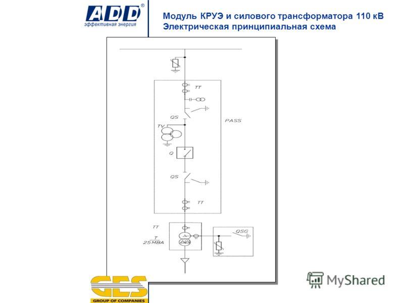 Модуль КРУЭ и силового трансформатора 110 кВ Электрическая принципиальная схема