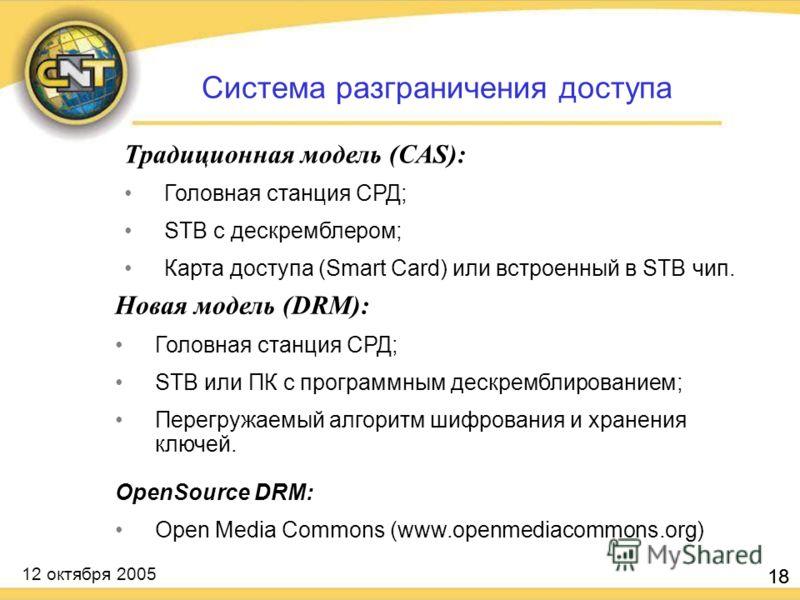 12 октября 2005 18 Традиционная модель (CAS): Головная станция СРД; STB с дескремблером; Карта доступа (Smart Card) или встроенный в STB чип. 18 Система разграничения доступа Новая модель (DRM): Головная станция СРД; STB или ПК с программным дескремб