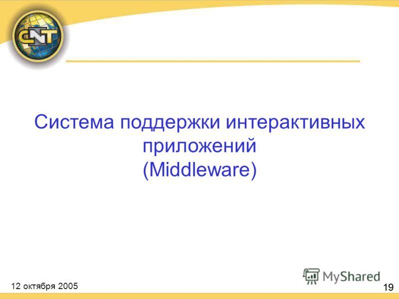 12 октября 2005 19 Система поддержки интерактивных приложений (Middleware)