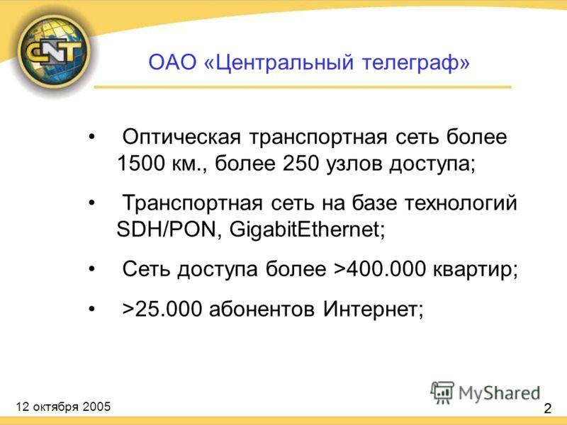12 октября 2005 2 Оптическая транспортная сеть более 1500 км., более 250 узлов доступа; Транспортная сеть на базе технологий SDH/PON, GigabitEthernet; Сеть доступа более >400.000 квартир; >25.000 абонентов Интернет; 2 ОАО «Центральный телеграф»
