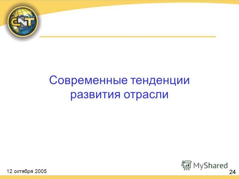 12 октября 2005 24 Современные тенденции развития отрасли