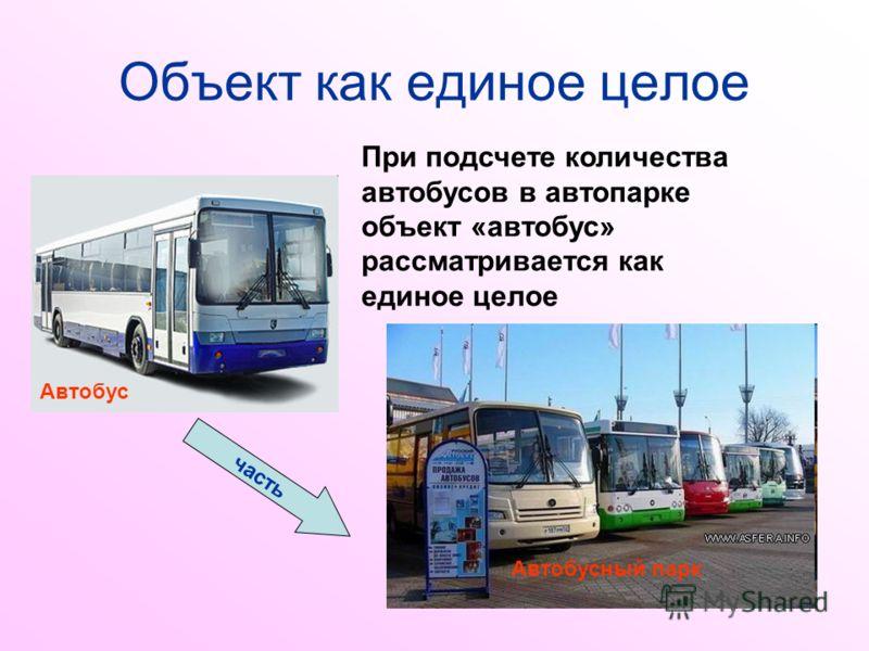 Объект как единое целое При подсчете количества автобусов в автопарке объект «автобус» рассматривается как единое целое Автобусный парк Автобус часть