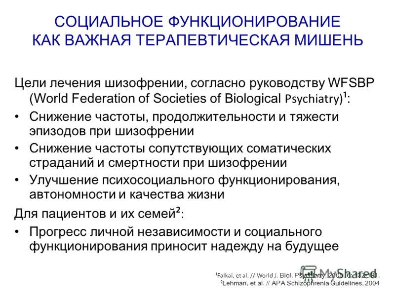 СОЦИАЛЬНОЕ ФУНКЦИОНИРОВАНИЕ КАК ВАЖНАЯ ТЕРАПЕВТИЧЕСКАЯ МИШЕНЬ Цели лечения шизофрении, согласно руководству WFSBP (World Federation of Societies of Biological Psychiatry) ¹ : Снижение частоты, продолжительности и тяжести эпизодов при шизофрении Сниже