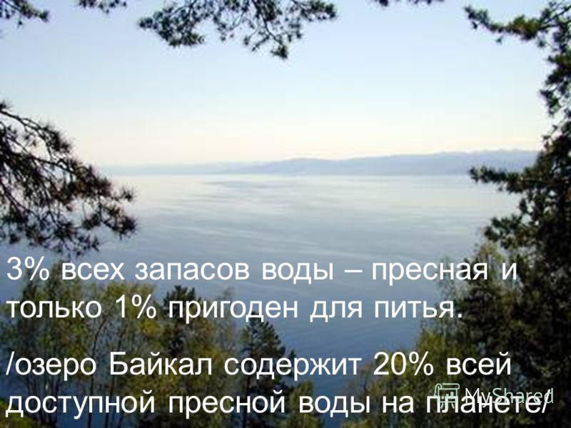 3% всех запасов воды – пресная и только 1% пригоден для питья. /озеро Байкал содержит 20% всей доступной пресной воды на планете/
