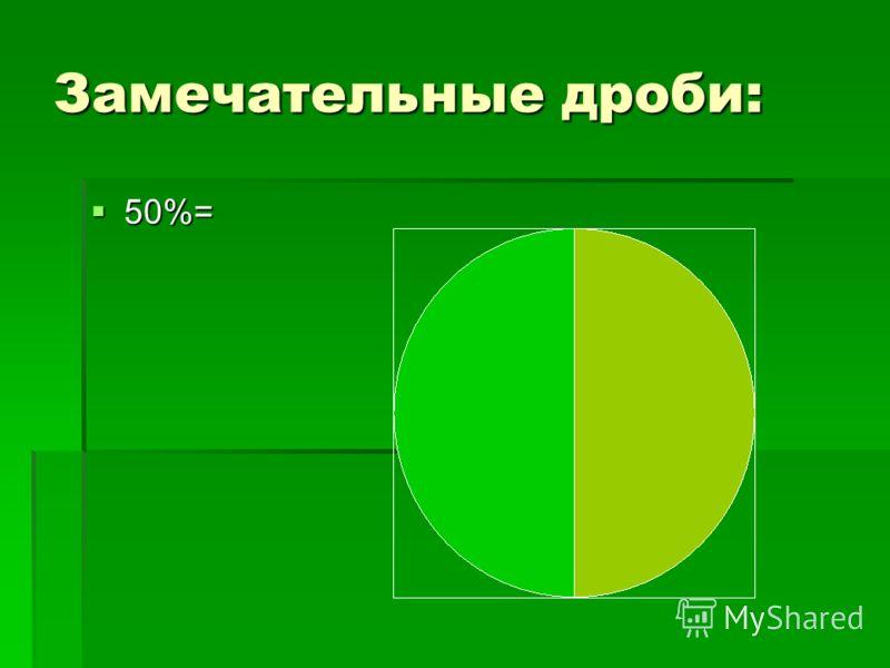 Замечательные дроби: 50%= 50%=