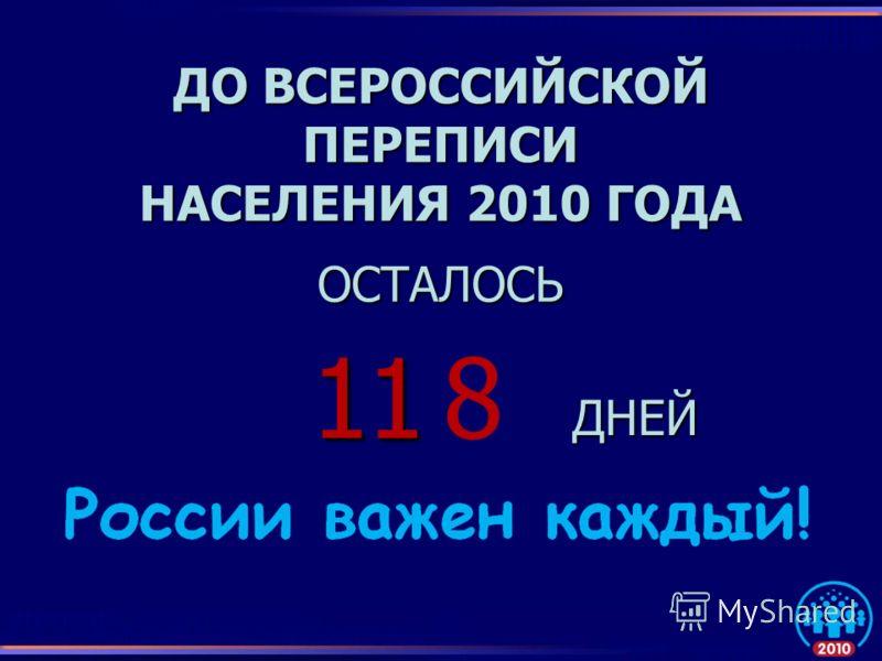 ДО ВСЕРОССИЙСКОЙ ПЕРЕПИСИ НАСЕЛЕНИЯ 2010 ГОДА ОСТАЛОСЬ ДНЕЙ 1 18