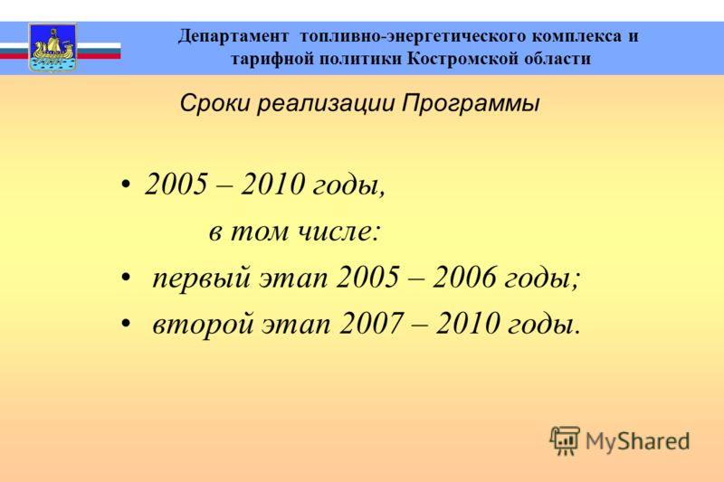 Департамент топливно-энергетического комплекса и тарифной политики Костромской области Сроки реализации Программы 2005 – 2010 годы, в том числе: первый этап 2005 – 2006 годы; второй этап 2007 – 2010 годы.