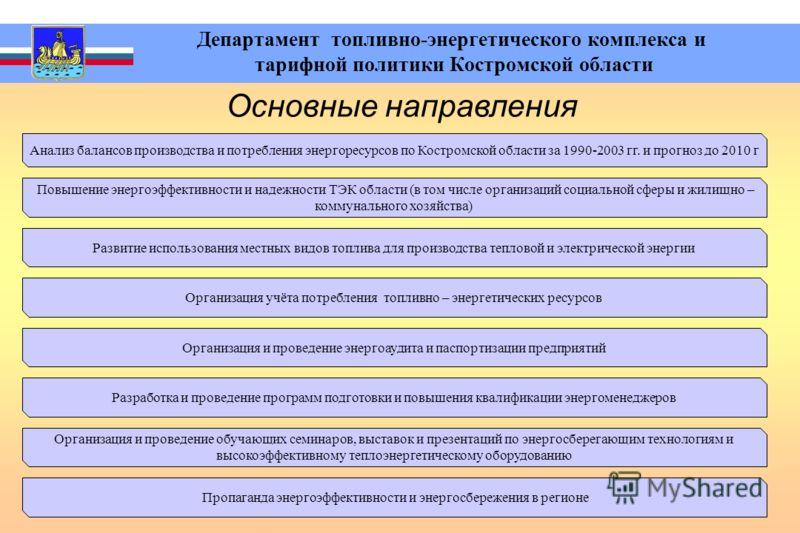 Департамент топливно-энергетического комплекса и тарифной политики Костромской области Основные направления Анализ балансов производства и потребления энергоресурсов по Костромской области за 1990-2003 гг. и прогноз до 2010 г Повышение энергоэффектив