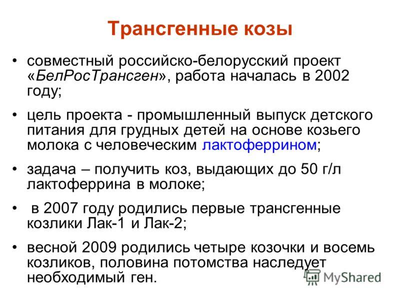Трансгенные козы совместный российско-белорусский проект «БелРосТрансген», работа началась в 2002 году; цель проекта - промышленный выпуск детского питания для грудных детей на основе козьего молока с человеческим лактоферрином; задача – получить коз