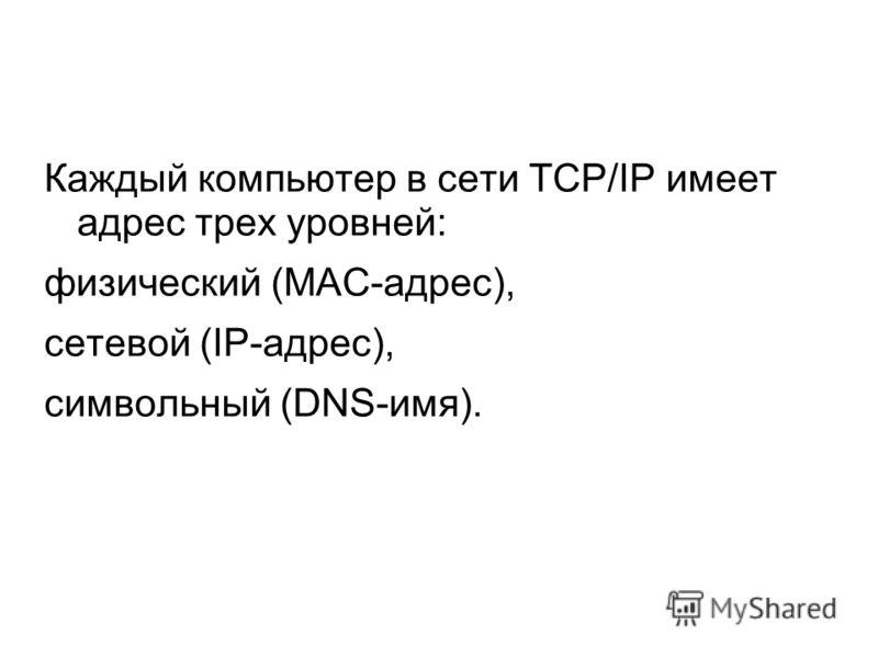 Каждый компьютер в сети TCP/IP имеет адрес трех уровней: физический (МАС-адрес), сетевой (IP-адрес), символьный (DNS-имя).