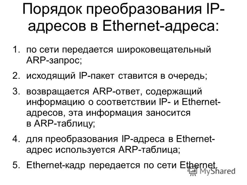 Порядок преобразования IP- адресов в Ethernet-адреса: 1.по сети передается широковещательный ARP-запрос; 2.исходящий IP-пакет ставится в очередь; 3.возвращается ARP-ответ, содержащий информацию о соответствии IP- и Ethernet- адресов, эта информация з