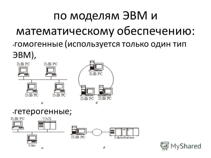 по моделям ЭВМ и математическому обеспечению: гомогенные (используется только один тип ЭВМ), гетерогенные;