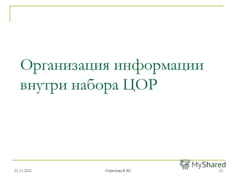 Организация информации внутри набора ЦОР 21.11.201213 Стрюкова Е.Ю.