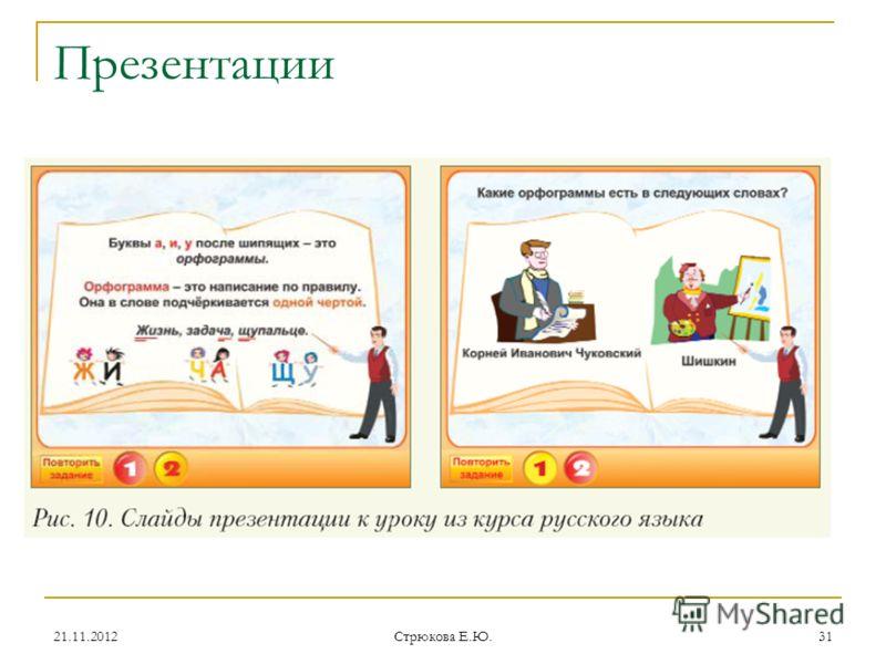 Презентации 21.11.201231 Стрюкова Е.Ю.