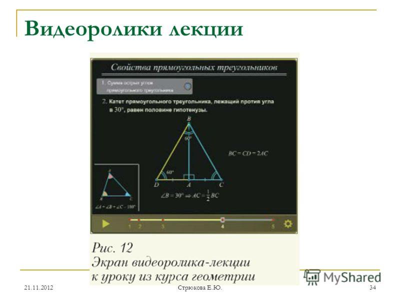 Видеоролики лекции 21.11.201234 Стрюкова Е.Ю.