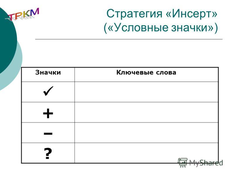Стратегия «Инсерт» («Условные значки») ЗначкиКлючевые слова + – ?