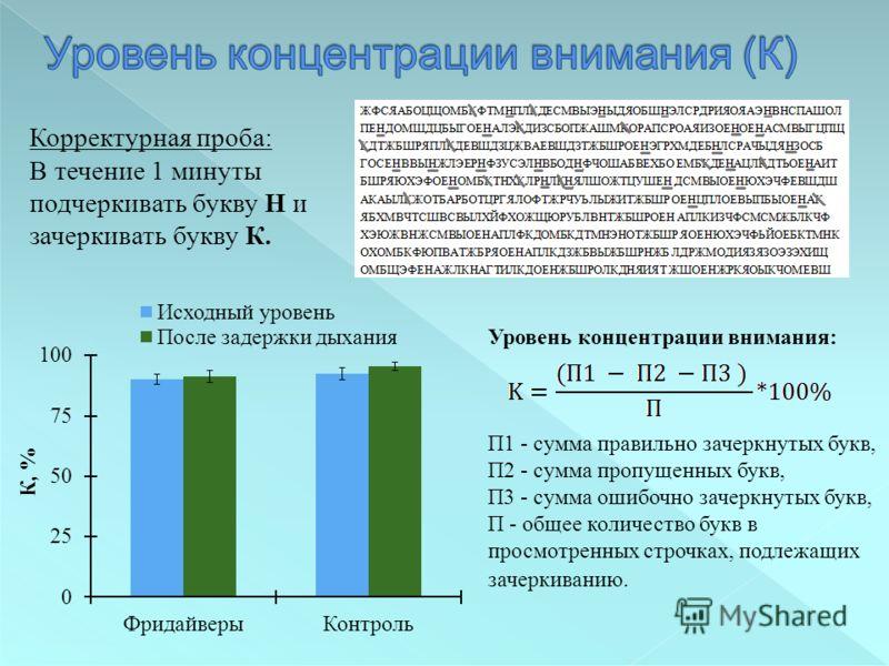 Уровень концентрации внимания: П1 - сумма правильно зачеркнутых букв, П2 - сумма пропущенных букв, П3 - сумма ошибочно зачеркнутых букв, П - общее количество букв в просмотренных строчках, подлежащих зачеркиванию. Корректурная проба: В течение 1 мину