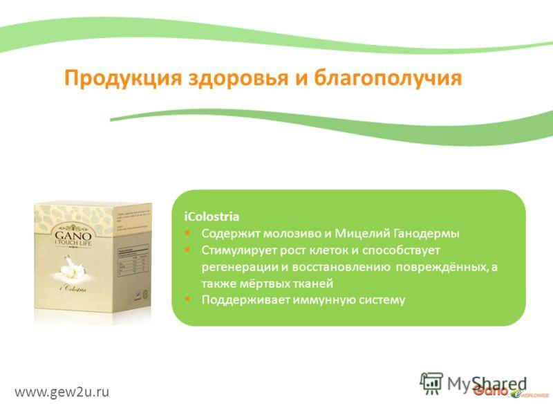 www.gew2u.ru Продукция здоровья и благополучия iColostria Содержит молозиво и Мицелий Ганодермы Стимулирует рост клеток и способствует регенерации и восстановлению повреждённых, а также мёртвых тканей Поддерживает иммунную систему