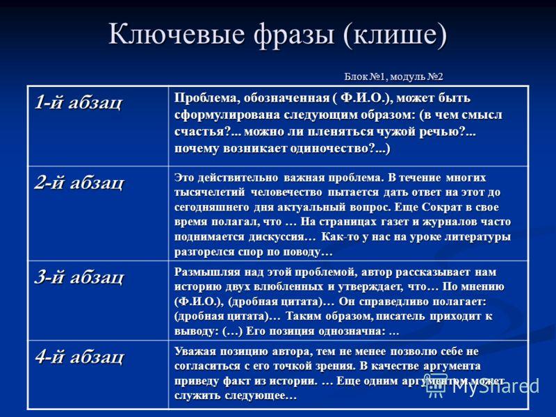 Ключевые фразы (клише) Блок 1, модуль 2 1-й абзац Проблема, обозначенная ( Ф.И.О.), может быть сформулирована следующим образом: (в чем смысл счастья?... можно ли пленяться чужой речью?... почему возникает одиночество?...) 2-й абзац Это действительно