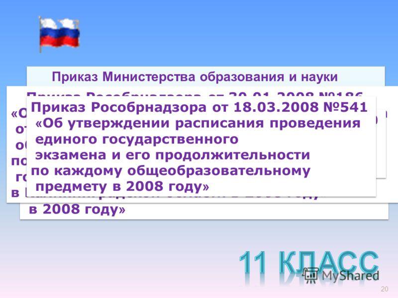 20 Приказ Министерства образования и науки Российской Федерации от 05.02.2008 36