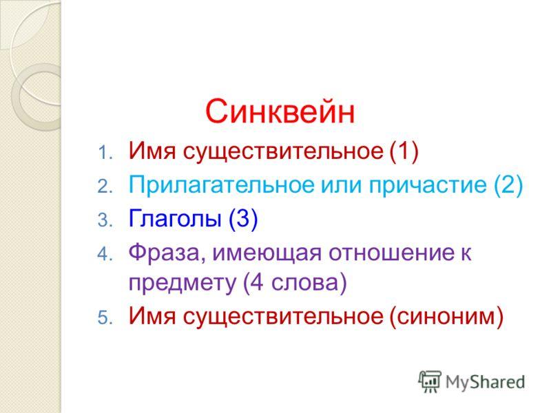 Синквейн 1. Имя существительное (1) 2. Прилагательное или причастие (2) 3. Глаголы (3) 4. Фраза, имеющая отношение к предмету (4 слова) 5. Имя существительное (синоним)