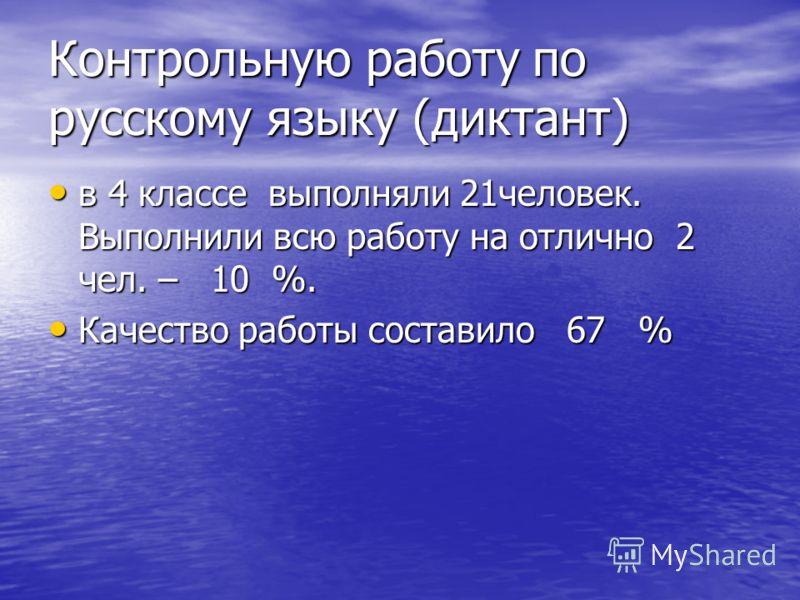 Контрольную работу по русскому языку (диктант) в 4 классе выполняли 21человек. Выполнили всю работу на отлично 2 чел. – 10 %. в 4 классе выполняли 21человек. Выполнили всю работу на отлично 2 чел. – 10 %. Качество работы составило 67 % Качество работ