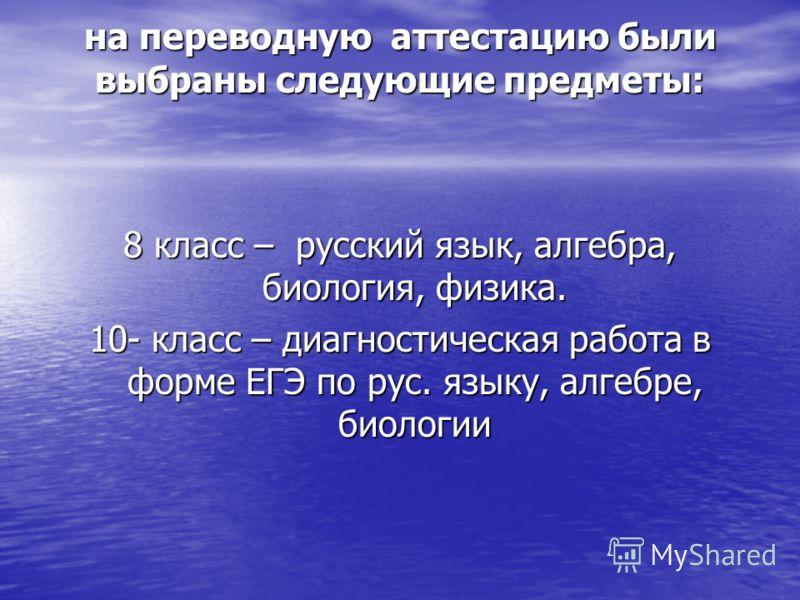 на переводную аттестацию были выбраны следующие предметы: 8 класс – русский язык, алгебра, биология, физика. 10- класс – диагностическая работа в форме ЕГЭ по рус. языку, алгебре, биологии