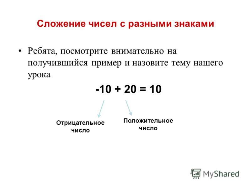 Сложение чисел с разными знаками Ребята, посмотрите внимательно на получившийся пример и назовите тему нашего урока -10 + 20 = 10 Отрицательное число Положительное число