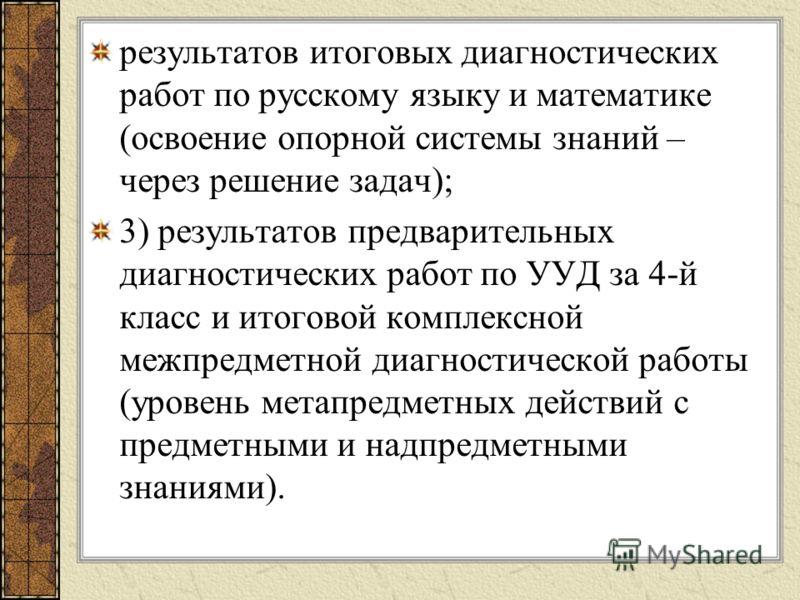 результатов итоговых диагностических работ по русскому языку и математике (освоение опорной системы знаний – через решение задач); 3) результатов предварительных диагностических работ по УУД за 4-й класс и итоговой комплексной межпредметной диагности