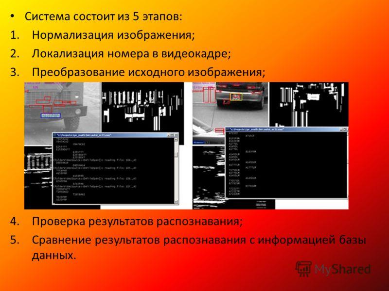 Система состоит из 5 этапов: 1.Нормализация изображения; 2.Локализация номера в видеокадре; 3.Преобразование исходного изображения; 4.Проверка результатов распознавания; 5.Сравнение результатов распознавания с информацией базы данных.