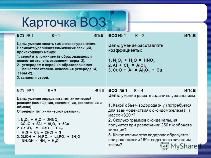 Карточка ВОЗ ВОЗ 1 К – 1 ИПсВ Цель: умение писать химические уравнения. Напишите уравнения химических реакций, происходящих между: 1. серой и алюминием (в образовавшемся веществе степень окисления серы -2). 2.углеродом и серой (в образовавшемся вещес