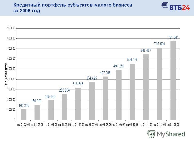 Кредитный портфель субъектов малого бизнеса за 2006 год
