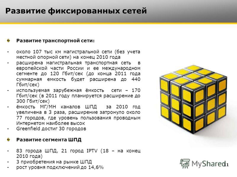 Развитие фиксированных сетей 1 Развитие транспортной сети: -около 107 тыс км магистральной сети (без учета местной опорной сети) на конец 2010 года -расширена магистральная транспортная сеть в европейской части России и ее международном сегменте до 1