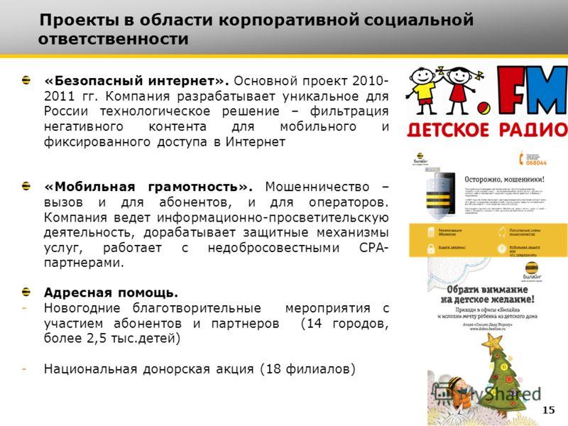 «Безопасный интернет». Основной проект 2010- 2011 гг. Компания разрабатывает уникальное для России технологическое решение – фильтрация негативного контента для мобильного и фиксированного доступа в Интернет «Мобильная грамотность». Мошенничество – в
