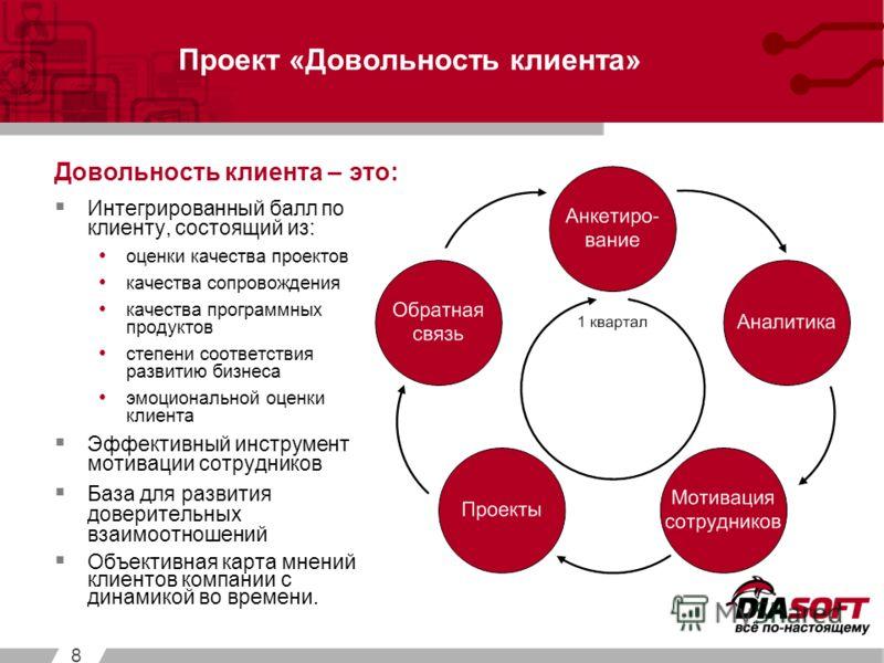 8 Интегрированный балл по клиенту, состоящий из: оценки качества проектов качества сопровождения качества программных продуктов степени соответствия развитию бизнеса эмоциональной оценки клиента Эффективный инструмент мотивации сотрудников База для р